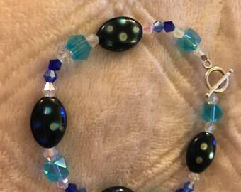 Blue Glass Bracelet Accented With Swarvoski Crystals