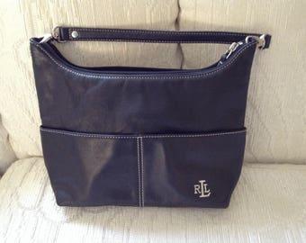 Ralph Lauren Black Leather Hobo Style Shoulder Bag
