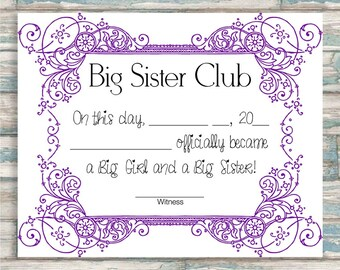 Big Sister Certificate - Big Sister Club - PURPLE - Other Color Options Available