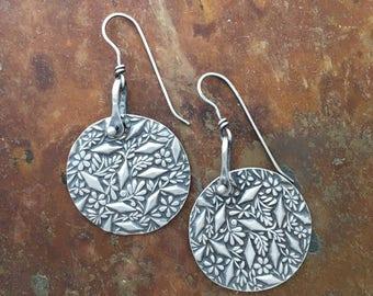 Flower Jewelry | Rustic Botanical Earrings | Vintage Style Dangle Earrings