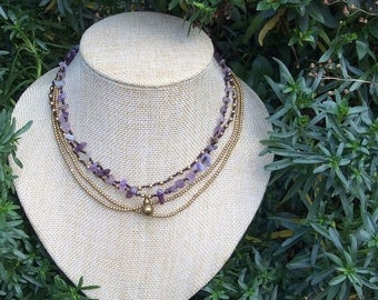 Amethyst Layer Beaded Tribal Necklace