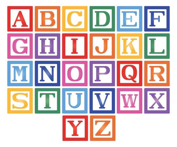 Building Blocks svg file. Block Alphabet. Baby toddler