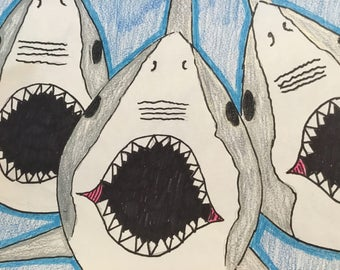Shark Reunion, Hand drawn picture of Shark