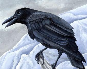 Winter Crow oil raven corvid