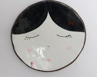 Sleepy blackhair girl - ceramic plate, spoon rest