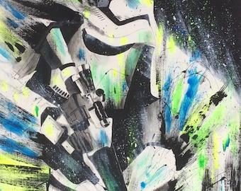 Stormtrooper neon, acrylic, original paint, 24 x 30 in