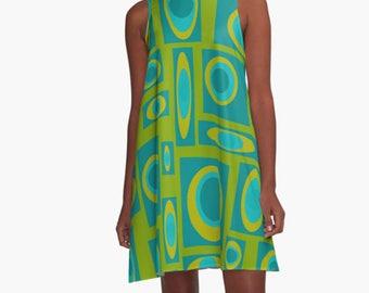 Party Dress, Womens Gift, Dress, Summer Dress,  Retro Dress, XL Dress, Retro, Mini Dress, Mod Dress, Green Dress, Casual Dress