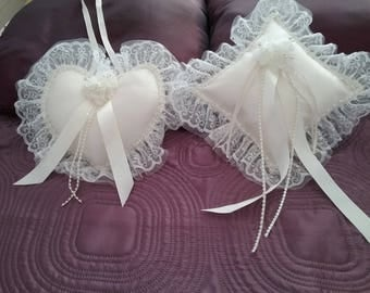 Wedding ring cushion, bridesmaid heart posy set