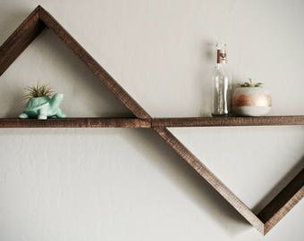Wooden Triangle Shelf, Multiple Stain Options
