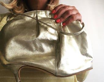 Very special gold vintage handbag 80 years-Gold 80s vintage bag