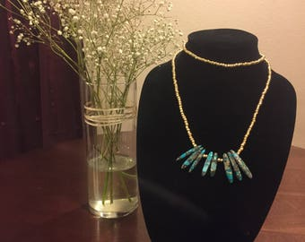 Gold and Turquoise Long Beaded Necklace