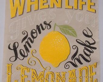 Life Gives Lemons Paper Napkins x4 Decoupage Scrapbooking Craft 056