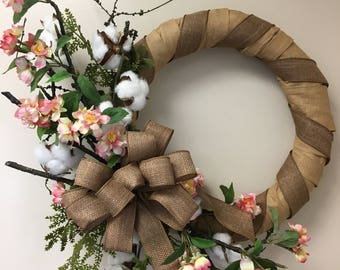 spring wreath, everyday wreath, cherry blossoms, straw wreath, indoor wreath, cotton pods, burlap ribbon