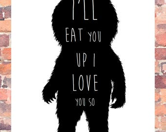 Childrens Print, where the wild things are, I love you
