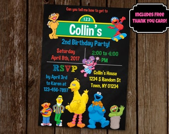 Sesame Street Invitation, Sesame Street Birthday Party, Printable Invitation, Elmo Invitation, Big Bird, Cookie Monster