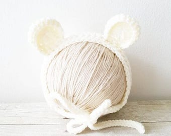Crochet Baby Bear Bonnet Hat Beanie Infant Newborn Baby Handmade Photography Photo Prop Handmade Baby Shower Gift Present