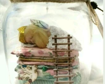 OOAK Baby Fairy Princess and the Pea in a Jar