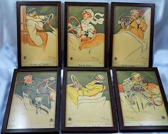 Rene Vincent Art Deco Car Memorabilia Lithographs