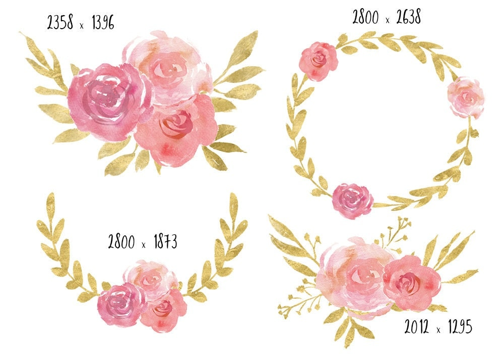 Pink And Gold Clipart Watercolor Clipart Watercolor