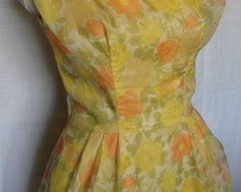 Vintage 1960s 60s Lorrie Deb Yellow Orange Floral Debutante Spring Summer Nylon Formal Dress