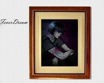 Tattoo Boy Print Digital Wall Art - 11x8.5inch - Unique Modern Artwork