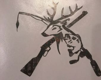 Hunting, fishing decal for tumbler