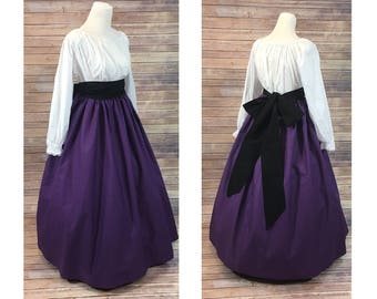 Size M - Complete Outfit - Skirt, Blouse and Sash - Renaissance Civil War Victorian Southern Belle LARP Medieval Pioneer Dress Costume