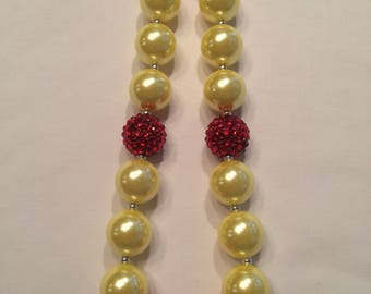 """Girls bubblegum necklace. Red yellow  """"princess with an enchanted rose"""""""