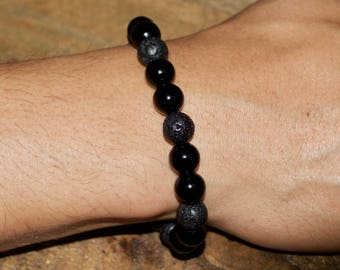 Men's Black Onyx & Lava rock Essential Oil Diffuser bracelet