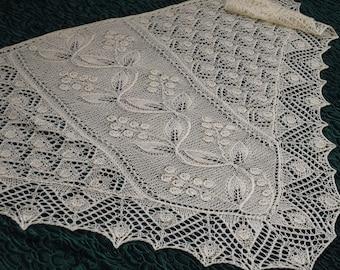 SALE 20% OFF Knit lace shawl Lace kerchief Hand knit merino shawl Triangular ecru shawl Hand knit ivory kerchief Shoulder lace shawlette