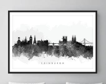 Edinburgh Skyline, Edinburgh Scotland Cityscape Art Print, Wall Art, Watercolor, Watercolour Art Decor [SWEDI05]