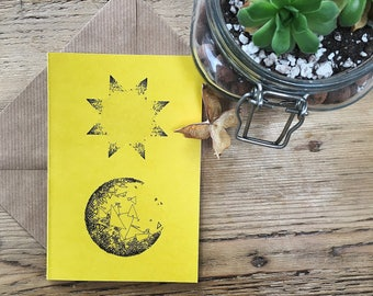 Mustard Sun and Moon Art Card, No Specific Occasion, Quirky Original Art Designs, Recycled Card