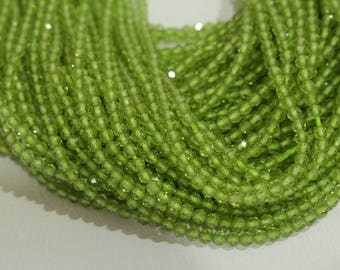 """Natural Peridot Beads 3 MM facetted. 13 """" Strands. Nice Uniform Cut. AAA Color. No Black Spots. Clean"""