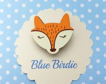Handpainted Fox brooch fox jewelry fox badge wooden fox brooch sleeping fox jewellery handpainted fox jewelry sleeping fox gift