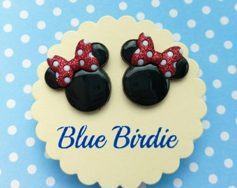 Minnie Mouse earrings Disney earrings Minnie mouse jewelry Disney jewelry Minnie Mouse stud earrings Disney trip Minnie gifts for her