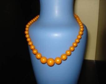 "Butterscotch Bakelite Bead Necklace, 16"""