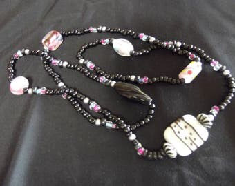 34 inch Black, white and Rosy Pink beaded necklace
