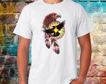 Eagle Tshirt, Bird Tshirt, Native american, Tattoo print, Illustration shirt, hand drawn shirt, Unisex clothing, worldwide shipping