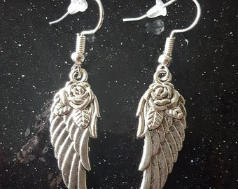 Gorgeous Silver Colour Angel Wings with Roses Earrings, Must See!!!