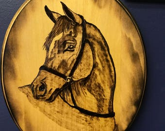 Horse wood burning