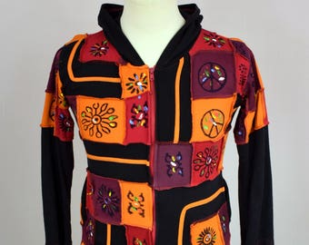 Hand Crafted Hippie womens Jumper size M - L Patchwork Hooded BOHO Pullover Hand made from Nepal