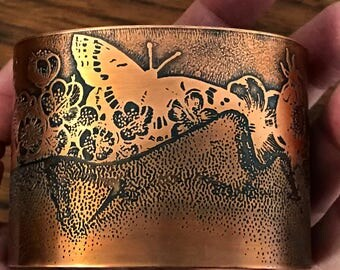 Solid Copper Cuff With Etched Images of Botanicals and Butterflies