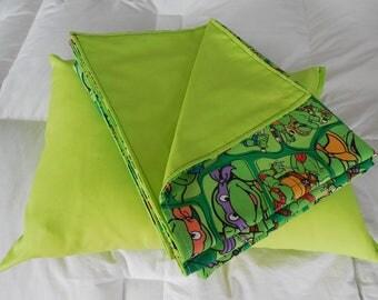 Ninja Turtle Theme Blanket w Pillow