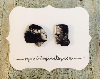Frankenstein and his Bride Earrings - Halloween Earrings - Bride of Frankenstein - Stud Earrings - Vintage Halloween - Universal Monsters