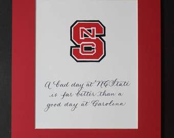 NC State handmade matted print