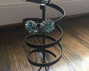 Mid century modern black metal spinning earring holder