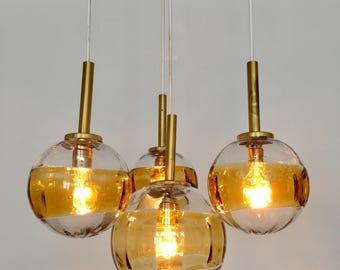 Cascade lamp | Pendant | handblown glass | 60s | lamp | cascade amber. Fishing lights