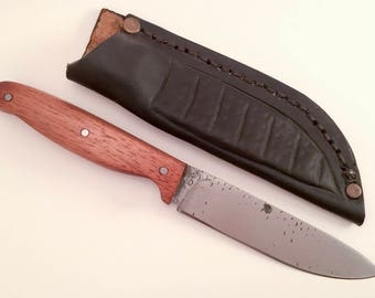 Bushcraft knife - medieval knife -  high carbon steel knife - leather sheath - Viking knife