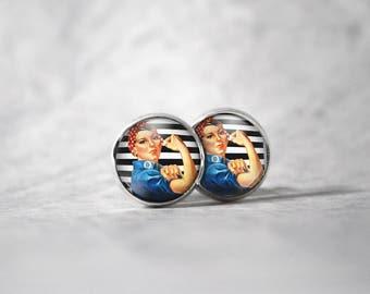 Earrings 12 mm cabochon / woman
