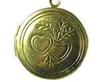 24pcs Round Brass Locket, Heart - 20mm- SL8007, Double Heart Design